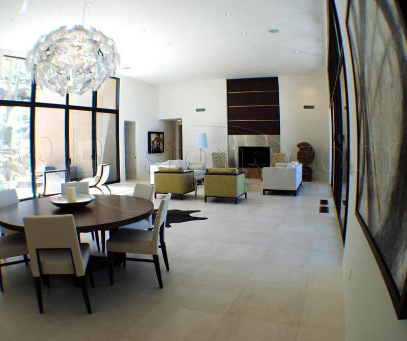family room with natural limestone tile floor