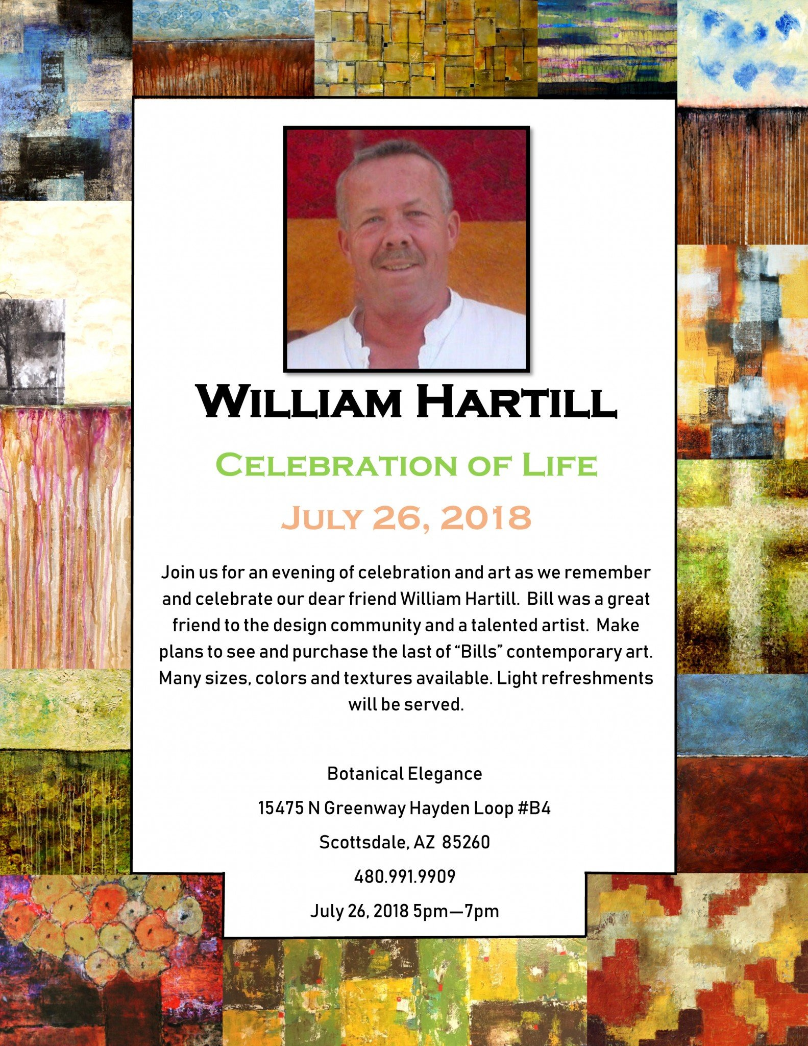 Celebrate Bill Hartill – July 26