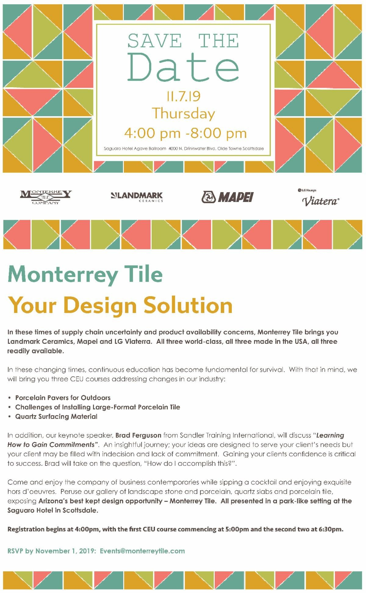 Monterrey Tile offering 3 CEU's –  Nov 7