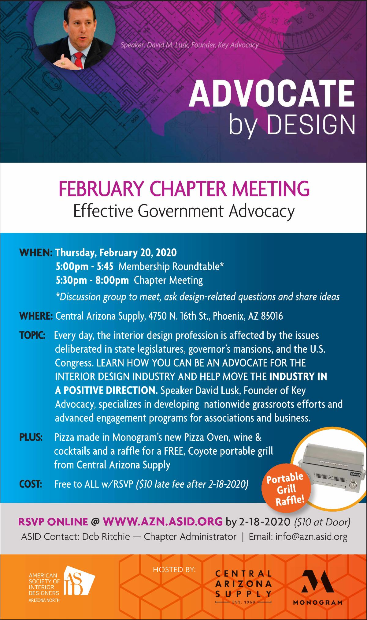 ASID chapter mtg – Feb 20